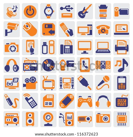 big icon set of electronic devices on gray
