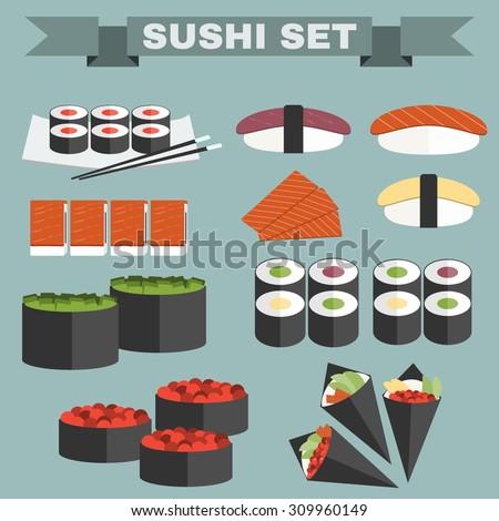 big icon set of sushi