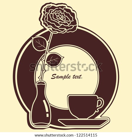 Big icon with rose and cup. Cafe vector background.