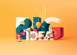 Big Idea concept. Typographic poster. 3D word lettering with colored icons on bright yellow background. Creative vector illustration.