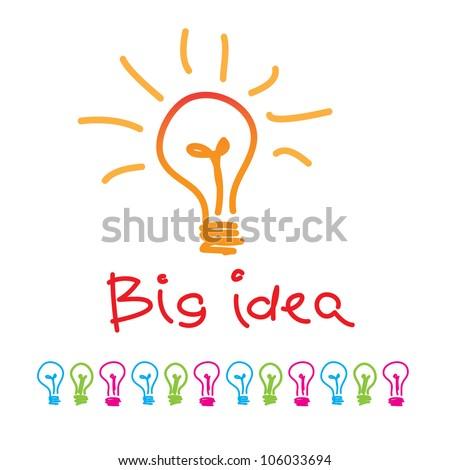 Big idea. lamp - a symbol of the idea. vector