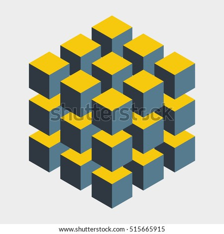 Big illusive cube constructed of many blocks. Isometric cubes for 3d designing. Mathematical object with mental trick. Optical illusion of brain. Symbol with three-dimensional effect. Imp art.