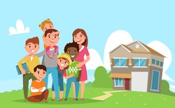 Big international family with adopted child standing together in the background of his family house. Vector illustration flat style