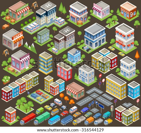 big isometric set of buildings
