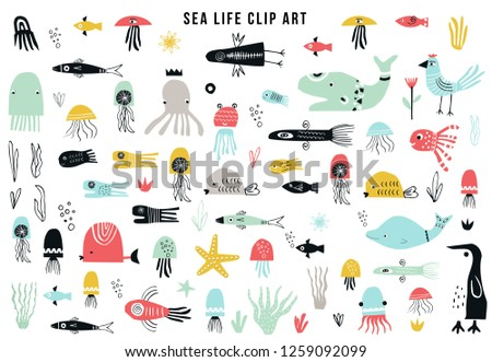 Big kids sea life clipart collection. A large set of items on the marine theme cut out of paper. Vector illustration.