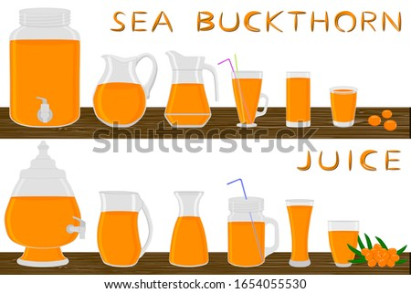 Big kit different types glassware, sea buckthorn jugs various size. Glassware consisting of organic plastic jugs for fluid sea buckthorn. Jugs of sea buckthorn it glassware standing on wooden table.