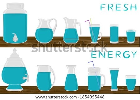 Big kit different types glassware to drink, energy jugs various size. Glassware consisting of organic plastic jugs for fluid energy drink. Jugs of energy drink is glassware standing on wooden table.