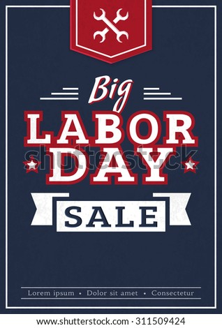 Big Labor Day. Advertising banner in dark blue, red and white colors. Vector promotion card.