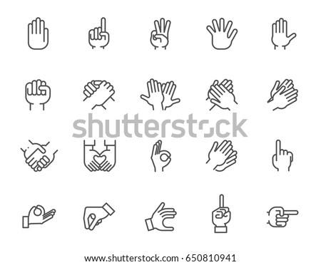 Big line icon set of human hands with different signs. 20 mono linear web graphic pictograms. Outline symbols of gesture arms. Business, friendship, love, language, pointer concept. Vector