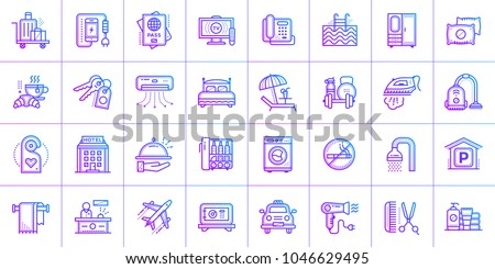 Big linear icons set of Hotel services. Outline icons for print, presentation, web