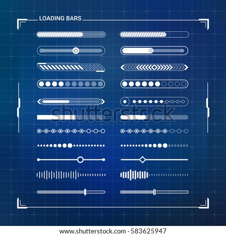 Big Loading Bars Set. Sci Fi Modern Futuristic User Interface Progress Bar. Abstract HUD