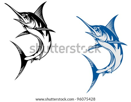 Big marlin fish isolated on white background in retro style, such  a logo. Jpeg version also available in gallery.