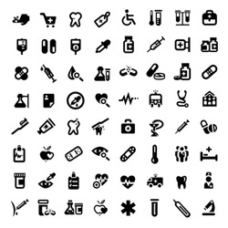 Big Medical And Health Icons Set Created For Mobile, Web And Applications.