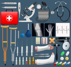 Big medical objects set. Realistic tools and equipment. Isolated objects. Vector illustration.