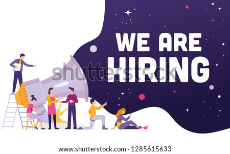 Big megaphone with We are Hiring word concept, a team work standing and sitting with big megaphone behind and shout We are Hiring, We are Hiring concept media for landing page, template, ui, web, -