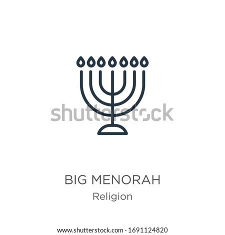 Big menorah icon. Thin linear big menorah outline icon isolated on white background from religion collection. Line vector sign, symbol for web and mobile Сток-фото ©