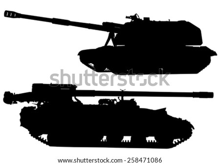 big military tank on white