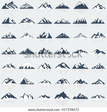 big mountain icons set vector