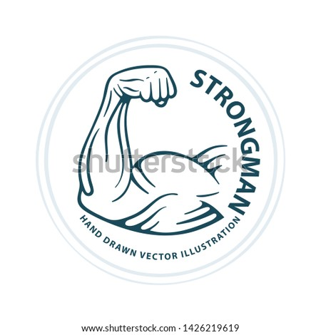 Big muscular biceps. Strong male arm. Bodybuilder power hand muscle. Hand drawn vector illustration. Part of set.