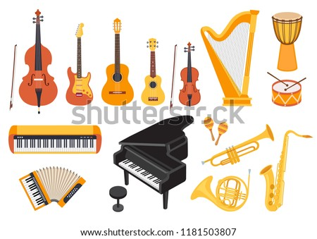 Big musical instruments set isolated on white background. Guitar, ukulele, piano, harp, accordion, maracas, violin etc. Flat style, vector illustration #1181503807