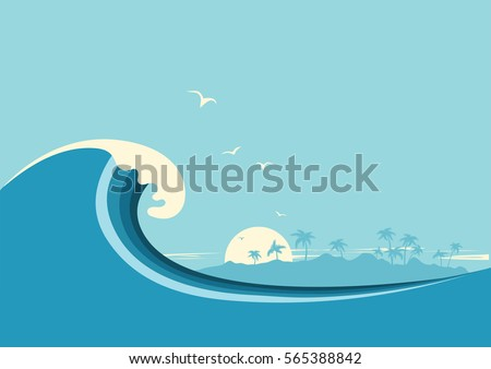 big ocean wave and tropical
