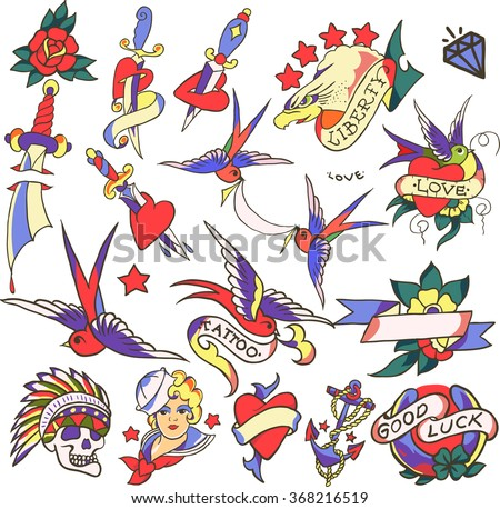 Big old tattoo set vector. Fashion cute patches, stickers set. Trendy illustration.