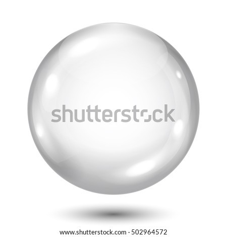 Big opaque gray sphere with shadow on white background