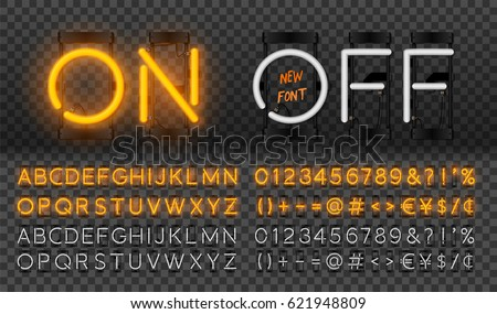 Big orange neon set, glowing alphabet, vector Font. Glowing text effect. On and Off lamp. Neon Numbers and punctuation marks. isolated on transparent background.