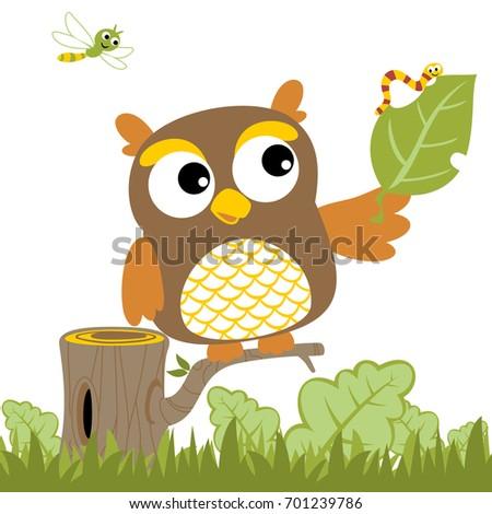 big owl and bugs  vector cartoon