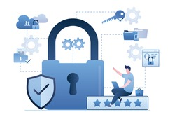Big padlock, shield and five stars review. Businessman uses laptop. Premium internet security technology. High quality protection of data, antivirus. System firewall on pc. Flat vector illustration