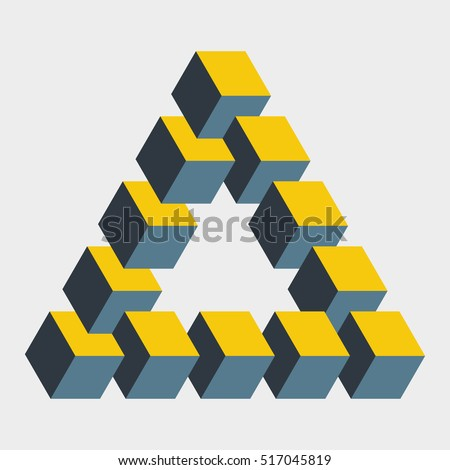 Big penrose triangle constructed of 12 blocks. Isometric cubes for 3d designing. Mathematical object with mental trick. Optical illusion of brain. Symbol with three-dimensional effect. Imp art.