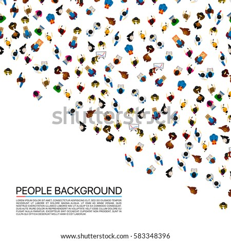 Shutterstock Big people crowd on white background. Vector illustration.