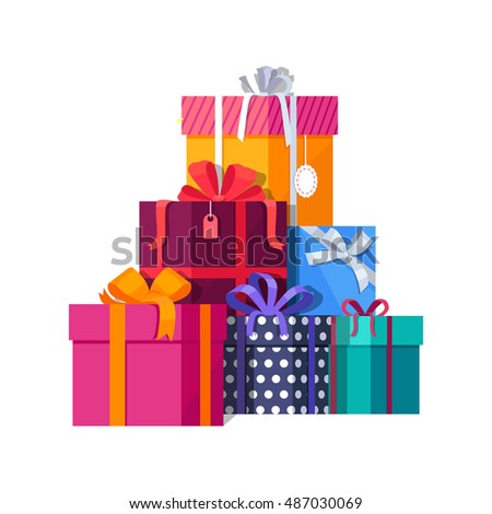 Big pile of colorful wrapped gift boxes. Mountain gifts. Beautiful present box with overwhelming bow. Gift box icon. Gift symbol. Christmas gift box. Isolated vector illustration