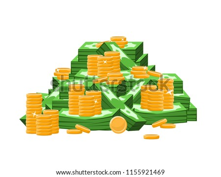 Big pile of money: coins and dollars bills/banknotes