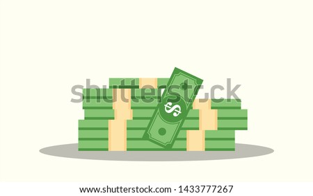 Big pile of money vector illustration, heap of cash flat cartoon style, American dollars, pack, packet, parcel, batch, flock, package modern design isolated on white background