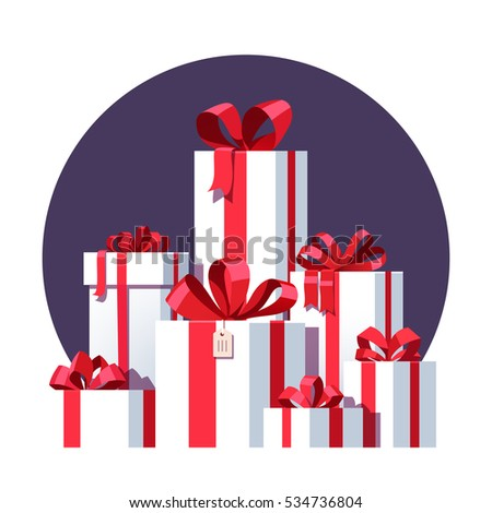 Big pile of wrapped white gift boxes decorated with red ribbon and bows. Lots of holiday presents. Flat style vector illustration isolated on background.