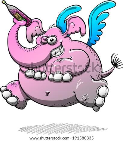 big pink elephant with blue