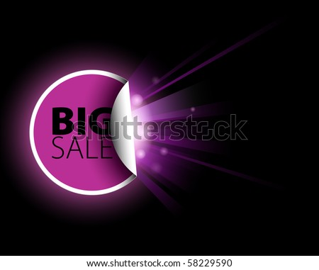 Big pink sale label with surprise on black background
