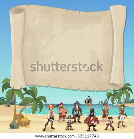 big pirate map and cartoon