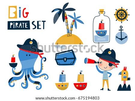 big pirate set  cute templates