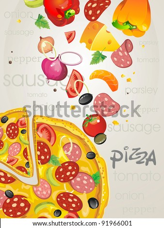 Big pizza with salami, paprika and olives. Abstract Elegance food background.
