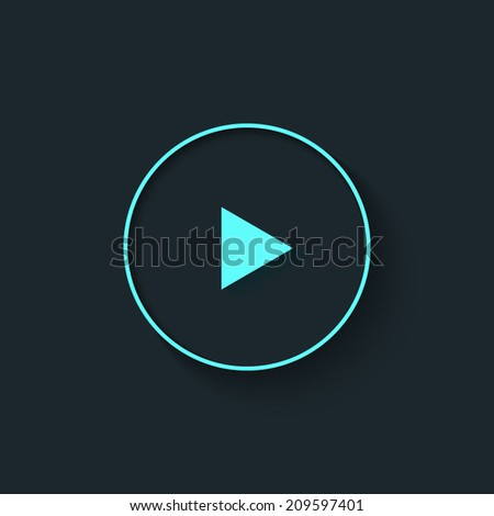 Big Play button in flat style. Vector illustration.