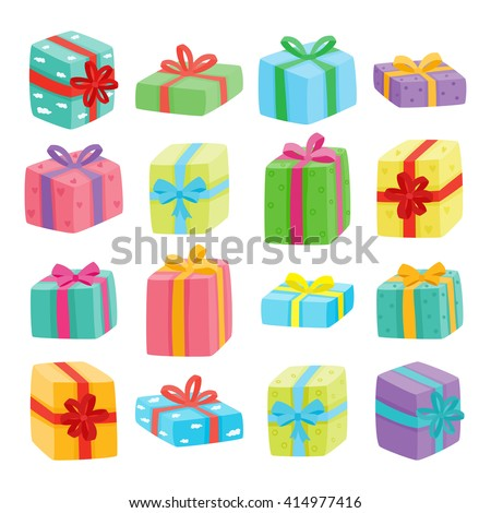 Big presents collection. Vector illustration of cartoon cute color gifts isolated on white background. Christmas, birthday, anniversary or Valentine`s day gifts boxes.