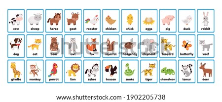 Big printable animals flashcards collection for learning english words. Educational game for kindergarten, pupils and preschool kids. Cute cartoon characters. Farm, forest and jungle animals. Foto stock ©