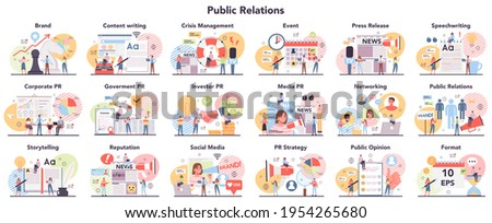 Big public relations set. PR technologies collection. Brand advertising strategy, Stockfoto ©