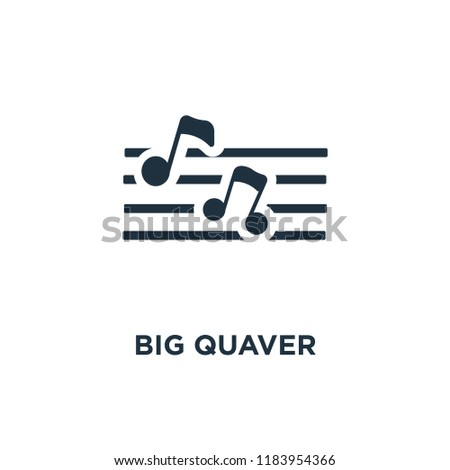 Big Quaver icon. Black filled vector illustration. Big Quaver symbol on white background. Can be used in web and mobile.