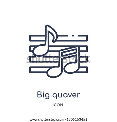big quaver icon from party outline collection. Thin line big quaver icon isolated on white background.