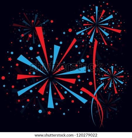 Big red and blue fireworks on white background