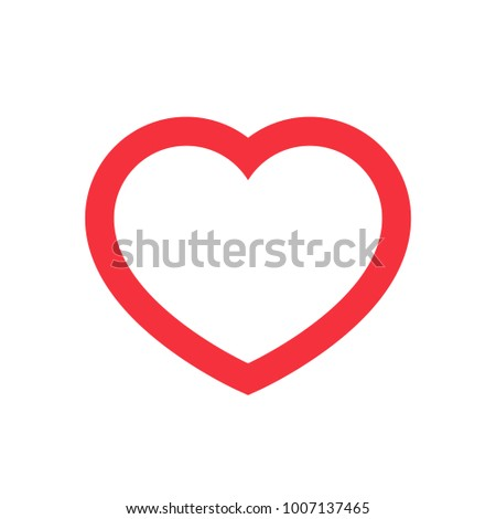 Big Red Heart Round Valentines Day Outline Stroke Vector Isolated