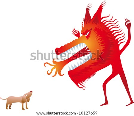 big red human wolf try to scare a small dog